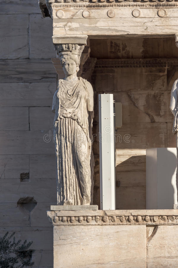 The Porch of the Caryatids in The Erechtheion an ancient Greek temple on the north side of the Acropolis of Athens, Greece. The Porch of the Caryatids in The royalty free stock photos