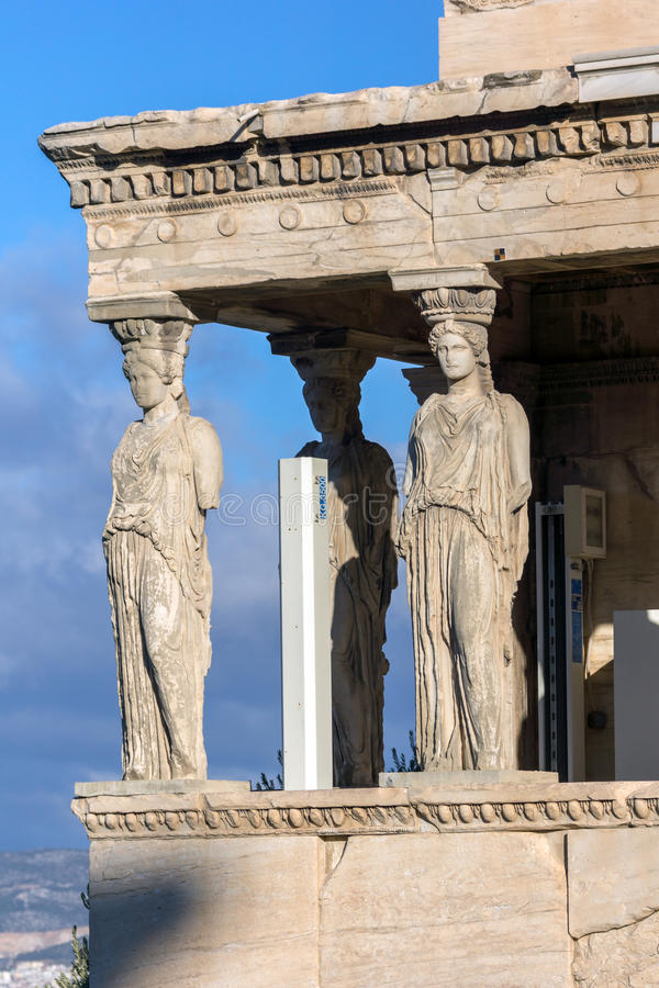 The Porch of the Caryatids in The Erechtheion an ancient Greek temple on the north side of the Acropolis of Athens, Greece. The Porch of the Caryatids in The stock image