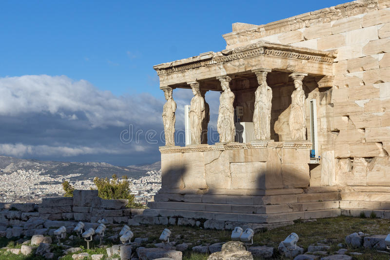 The Porch of the Caryatids in The Erechtheion an ancient Greek temple on the north side of the Acropolis of Athens, Greece. The Porch of the Caryatids in The royalty free stock photo