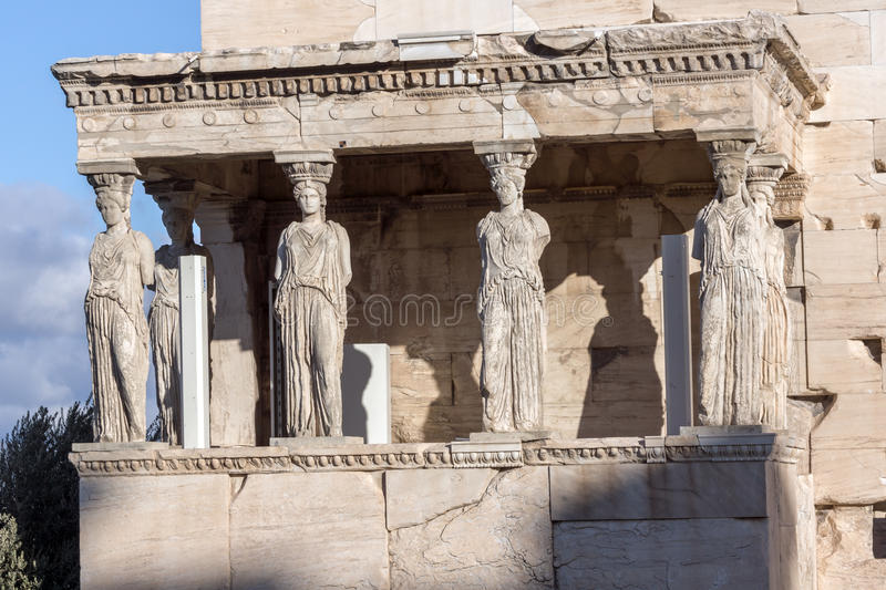 The Porch of the Caryatids in The Erechtheion an ancient Greek temple on the north side of the Acropolis of Athens, Greece. The Porch of the Caryatids in The royalty free stock image