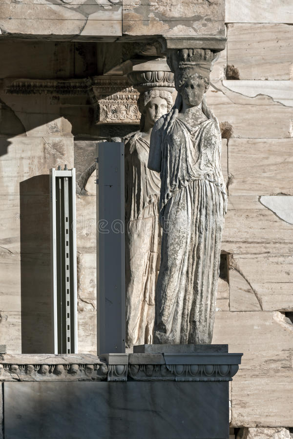 The Porch of the Caryatids in The Erechtheion an ancient Greek temple on the north side of the Acropolis of Athens, Greece. The Porch of the Caryatids in The stock photo