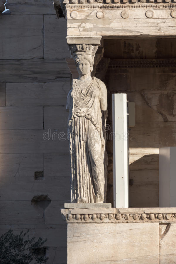 The Porch of the Caryatids in The Erechtheion an ancient Greek temple on the north side of the Acropolis of Athens, Greece. The Porch of the Caryatids in The royalty free stock images