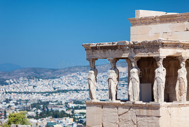 The Porch of the Caryatids. The Erechtheion. Porch of the Caryatids Porch of the Maidens, Acropolis of Athens, Greece stock photography