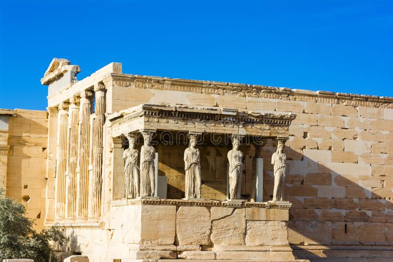 The Porch of the Caryatids at the Erechtheion temple on the Acropolis, Athens, Greece. Six columns sculpted as figures of maidens in place of ordinary columns royalty free stock image
