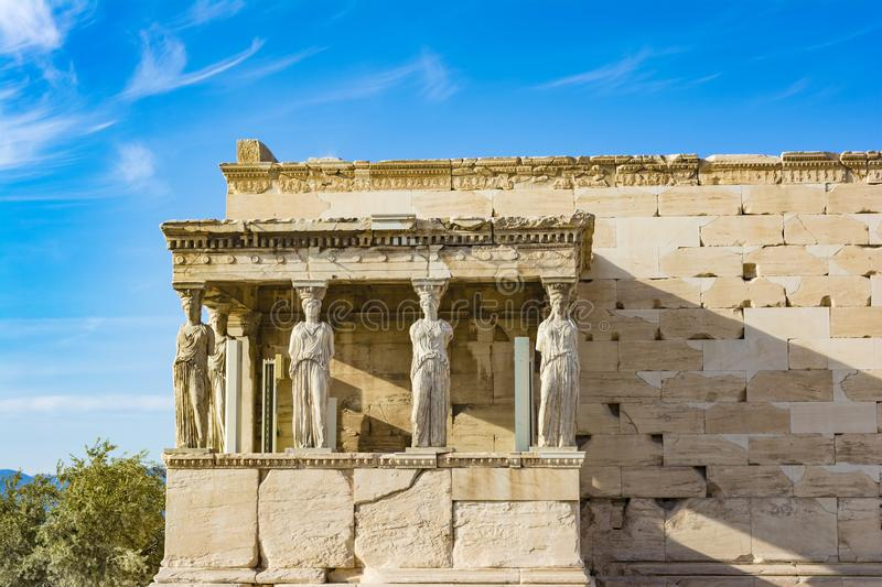 The Porch of the Caryatids at the Erechtheion temple on the Acropolis, Athens, Greece. Six columns sculpted as figures of maidens in place of ordinary columns royalty free stock photography