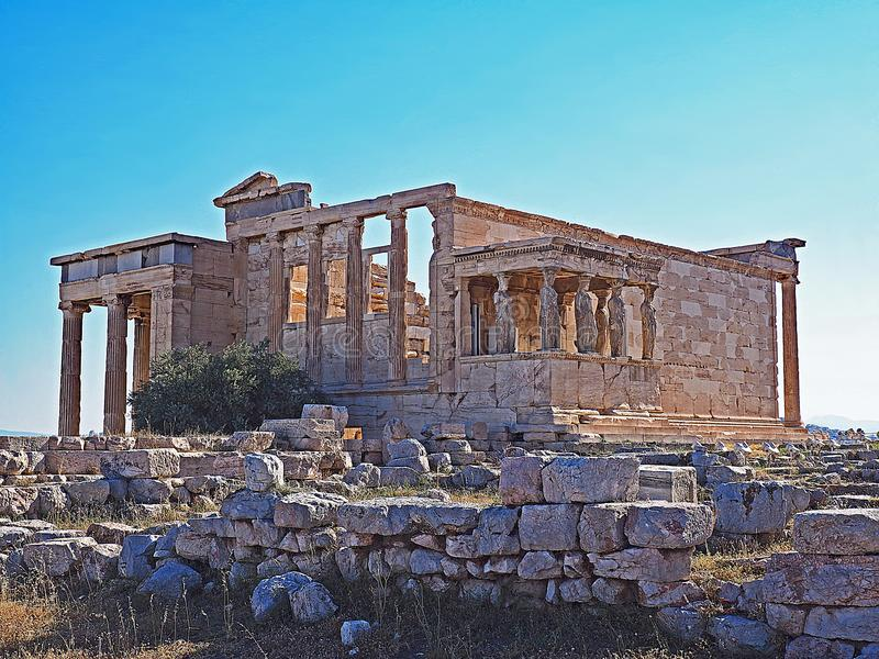 The porch of the Caryatids and the Erecthion at the Acropolis in Athens, Greece royalty free stock image