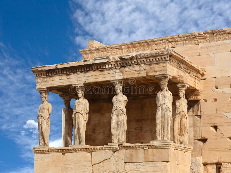 Porch of the Caryatids at famous ancient Erechtheion Greek temple in Athens, Greece royalty free stock photography