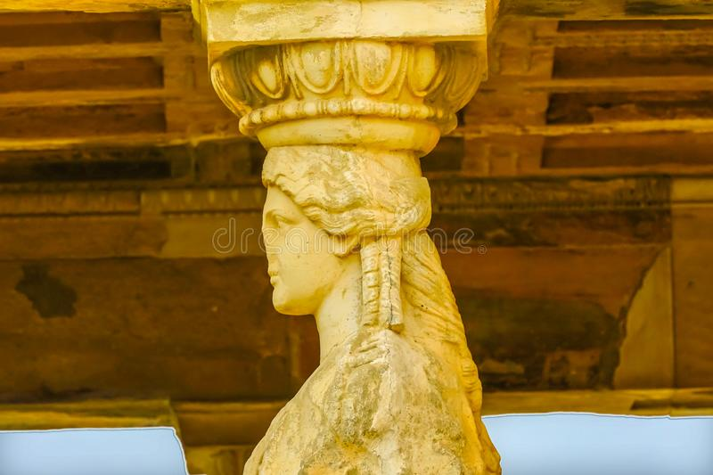 Porch Caryatids Ruins Temple Erechtheion Acropolis Athens Greece. Porch Caryatids Ruins Temple of Erechtheion Acropolis Athens Greece. Greek maidens columns royalty free stock image