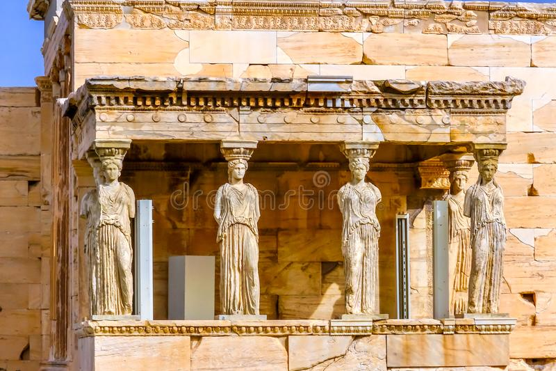 Porch Caryatids Ruins Temple Erechtheion Acropolis Athens Greece. Porch Caryatids Ruins Temple of Erechtheion Acropolis Athens Greece. Greek maidens columns stock image