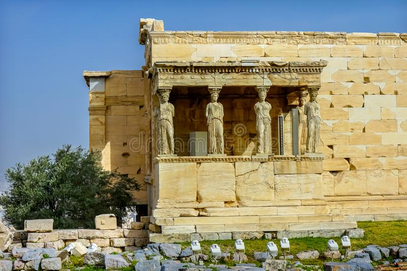 Porch Caryatids Ruins Temple Erechtheion Acropolis Athens Greece. Porch Caryatids Ruins Temple of Erechtheion Acropolis Athens Greece. Greek maidens columns stock images