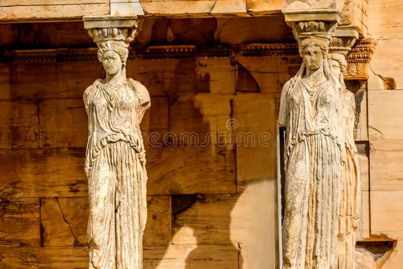 Porch Caryatids Ruins Temple Erechtheion Acropolis Athens Greece. Porch Caryatids Ruins Temple of Erechtheion Acropolis Athens Greece. Greek maidens columns royalty free stock images