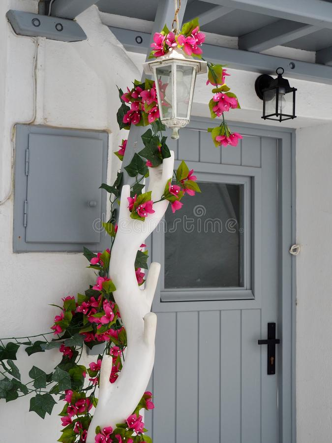 Porch Decoration of Bougainvillea Vine With Pink Flowers royalty free stock photography