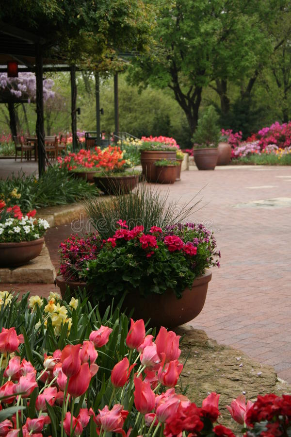 Download Porch in Garden stock photo. Image of relax, flowers, tulips - 9407056