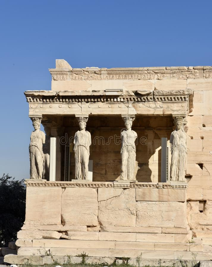 The Porch of the Maidens. This is a Fall picture of the ruins of the Porch of the Maidens located on the Northsidesouthside of the Erechtheum on the Acropolis in stock photography