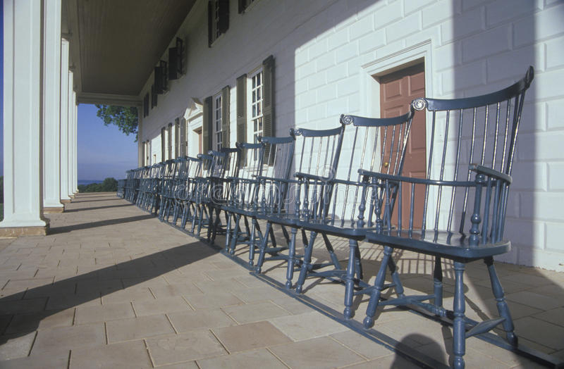 Porch at Mt. Vernon, home of George Washington, Mt. Vernon, Alexandria, Virginia stock images