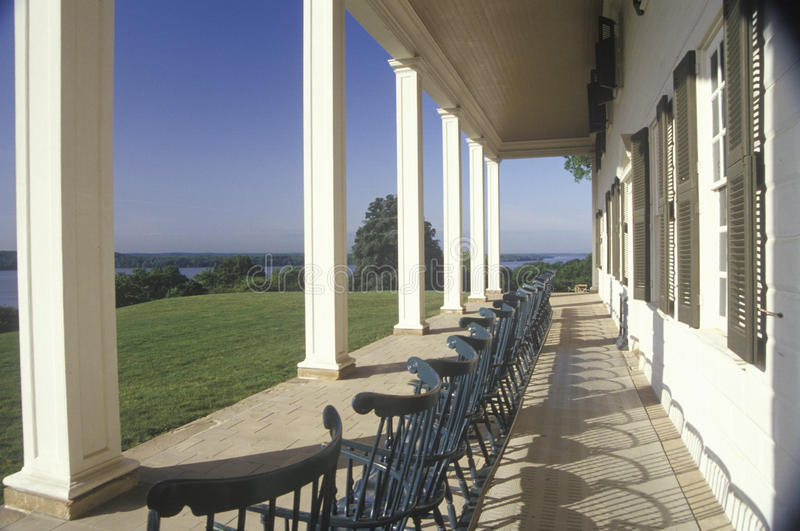 Porch at Mt. Vernon, home of George Washington, Mt. Vernon, Alexandria, Virginia stock image