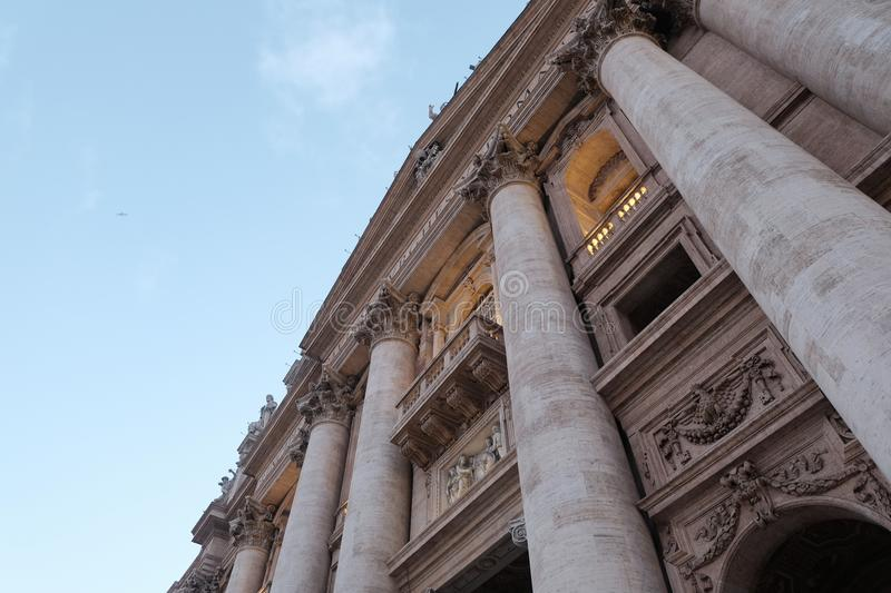 The Porch of Pope Francis at St Peter`s Basilica stock image