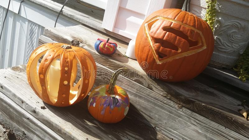 Porch pumpkins stock photos