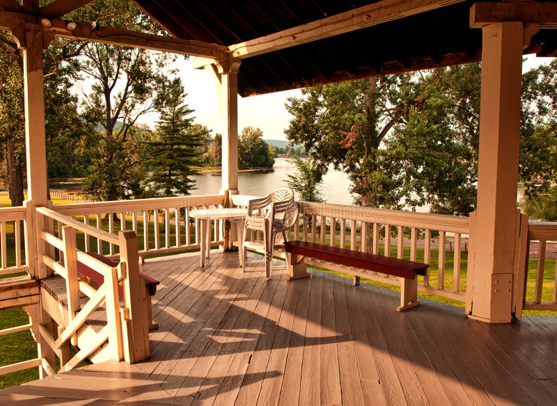 Porch at sunset royalty free stock photography