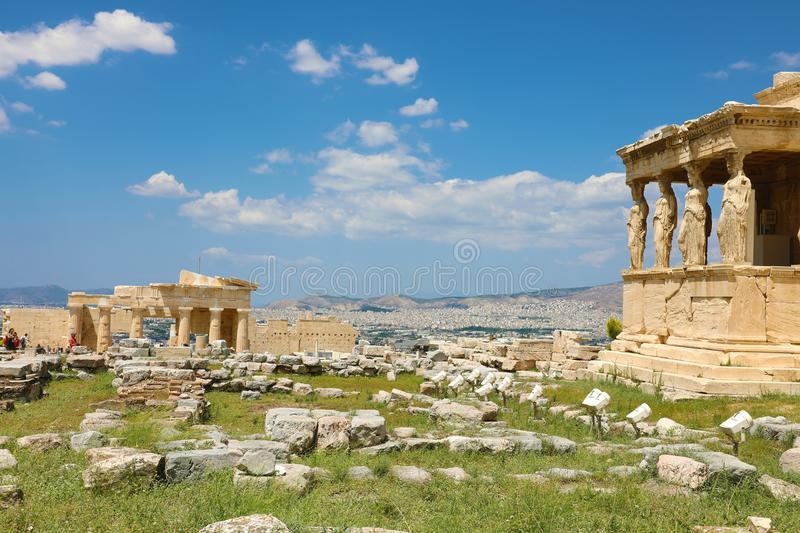 Porch of world famous Caryatids in Erechtheion on Acropolis Hill, Athens, Greece stock photo