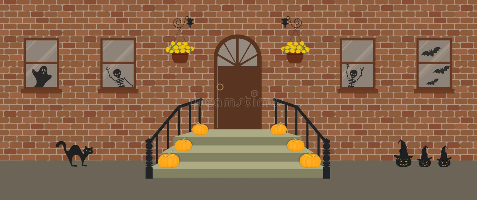 Porche, d?cor? pour Halloween Front Porch Halloween Decorations illustration de vecteur