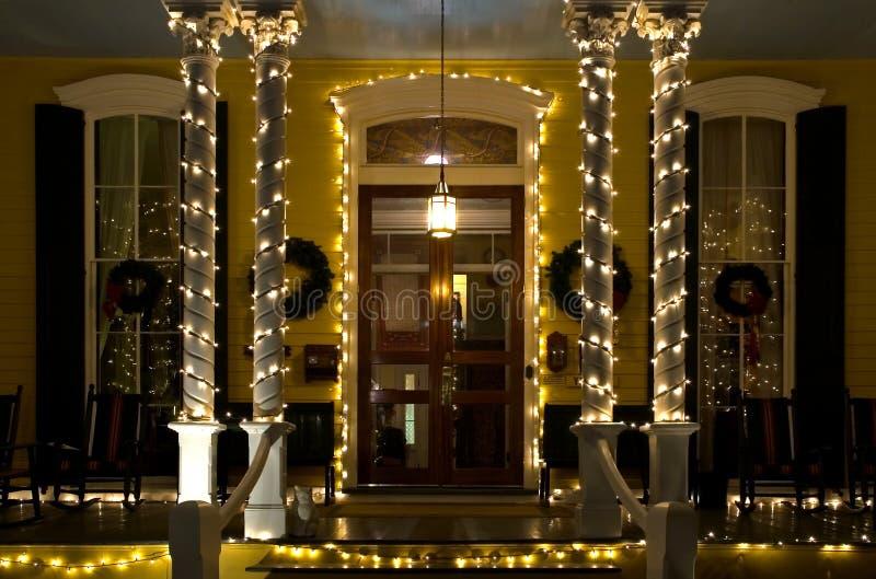 Porche de Victorian de Noël photographie stock libre de droits