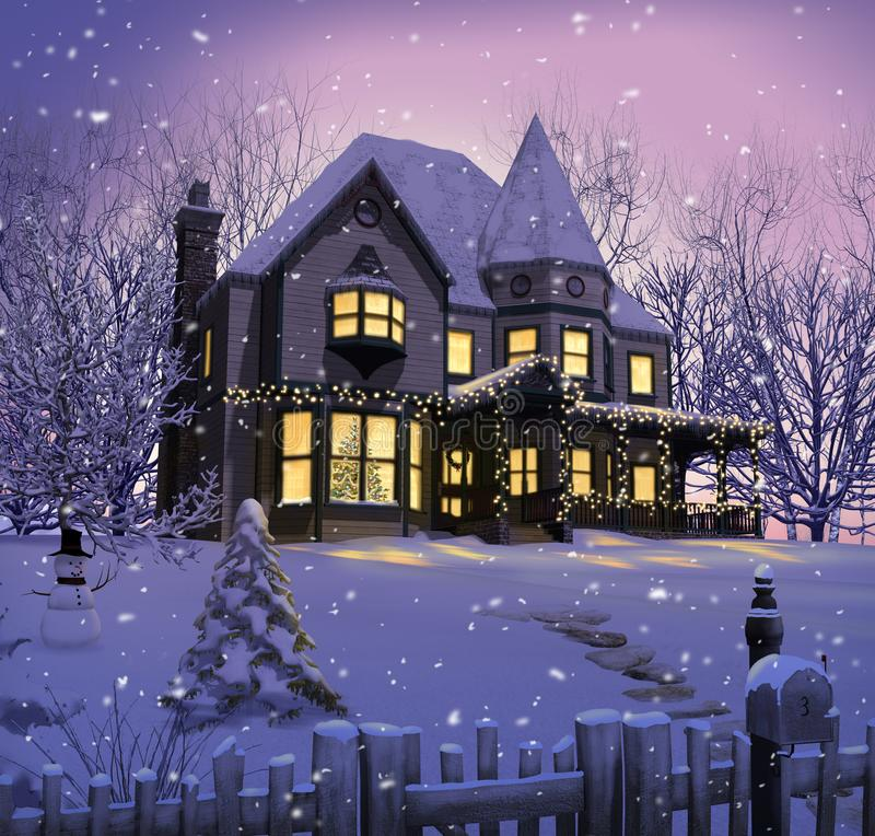 Porche victorien enchanteur de lumières de Noël de Chambre illustration stock
