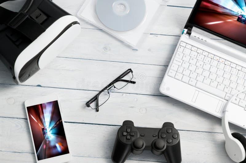 Porción de diferente tipo de accesorios del juego imagen de archivo