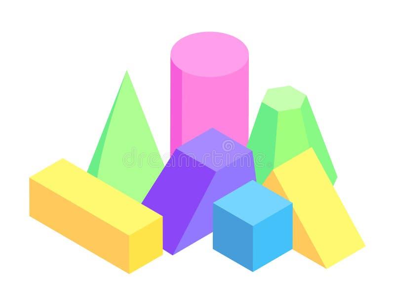 Porción de figuras geométricas coloridas, prismas variadas stock de ilustración