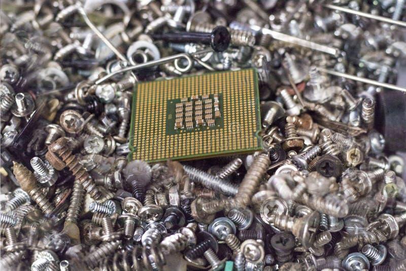 Porción de juntas del tornillo Viene con la CPU el proceso del dispositivo foto de archivo libre de regalías