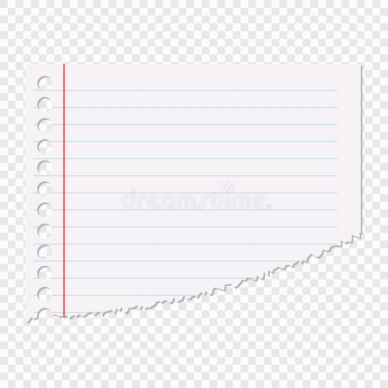 Porción de la hoja de papel en una línea aislada en un fondo transparente Elemento del vector para su diseño ilustración del vector