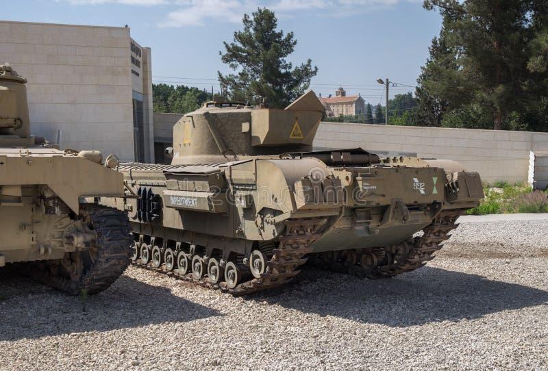 Porción de los tanques viejos de la armadura presentados en el museo acorazado del cuerpo de Latrun imagen de archivo libre de regalías