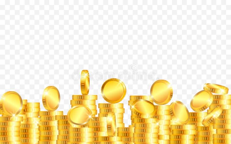 Porción de monedas de oro en fondo transparente Ilustraci?n del vector ilustración del vector