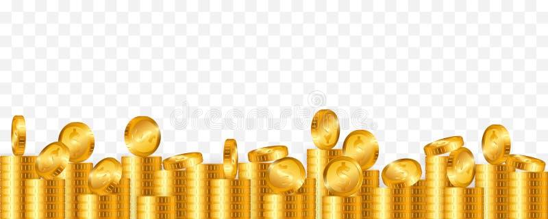 Porción de monedas de oro en fondo transparente Ilustraci?n del vector stock de ilustración