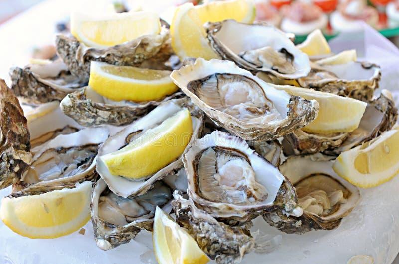 Porción de ostras frescas con el limón fotografía de archivo