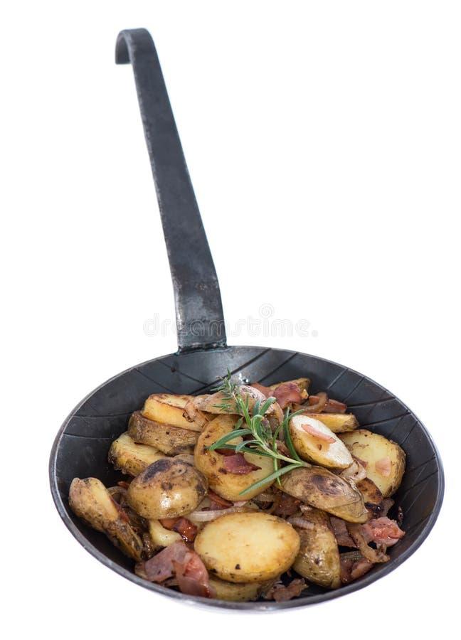 Porción de patatas asadas en blanco fotografía de archivo libre de regalías