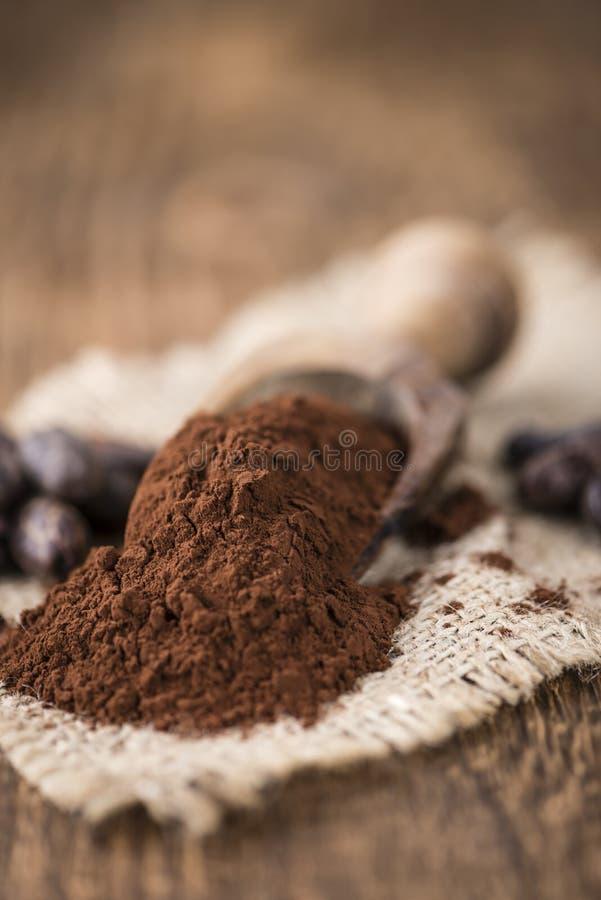 Porción de polvo de cacao imagen de archivo
