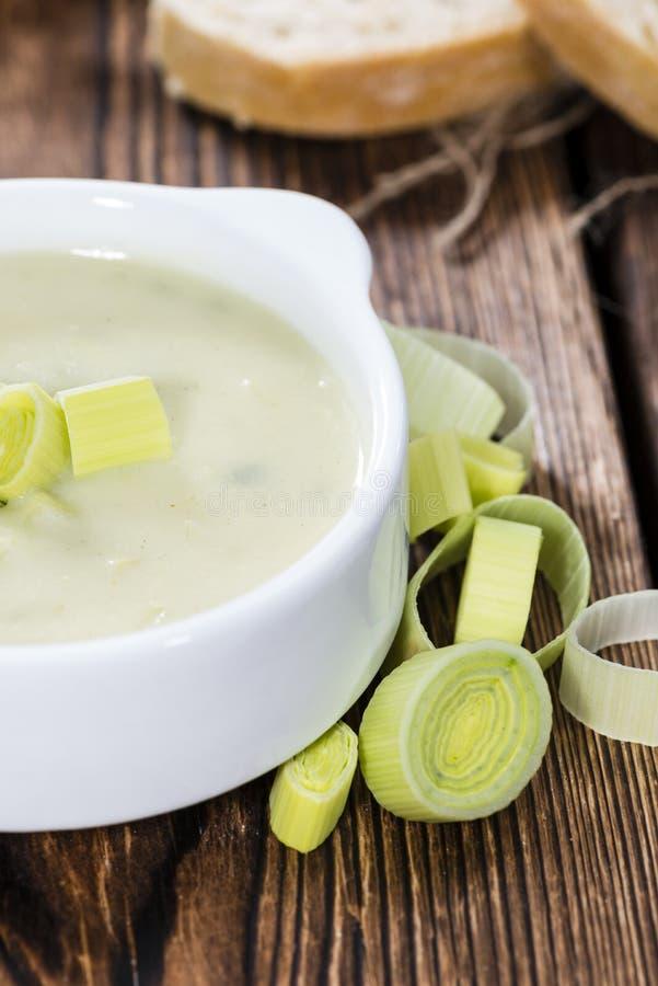 Porción de sopa del puerro imagen de archivo