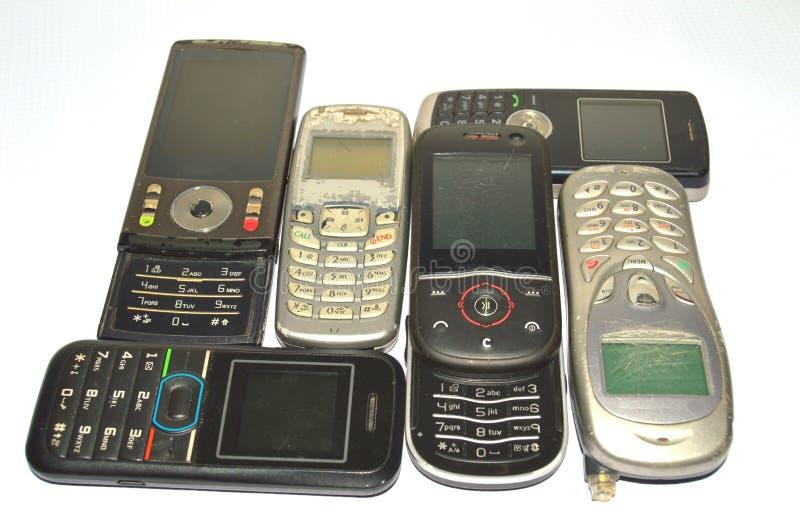 Porción de teléfonos móviles viejos imagen de archivo