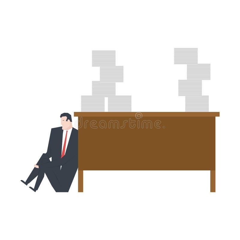 Porción de trabajo el encargado está llorando debajo de la tabla pila grande de papeles libre illustration