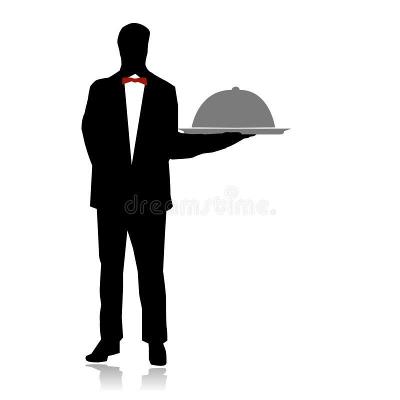 Porción del camarero en restaurante libre illustration