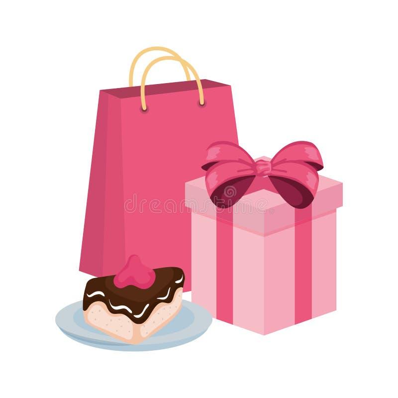 Porción dulce de la torta con el regalo y el bolso de compras stock de ilustración