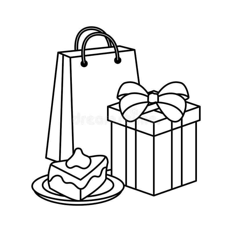 Porción dulce de la torta con el regalo y el bolso de compras ilustración del vector