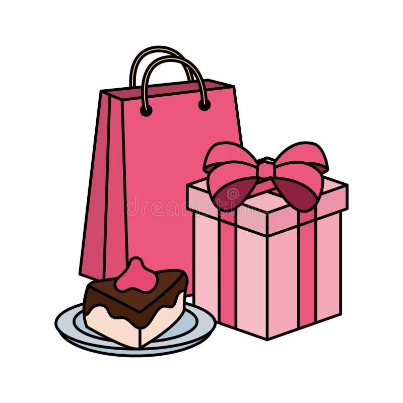 Porción dulce de la torta con el regalo y el bolso de compras libre illustration