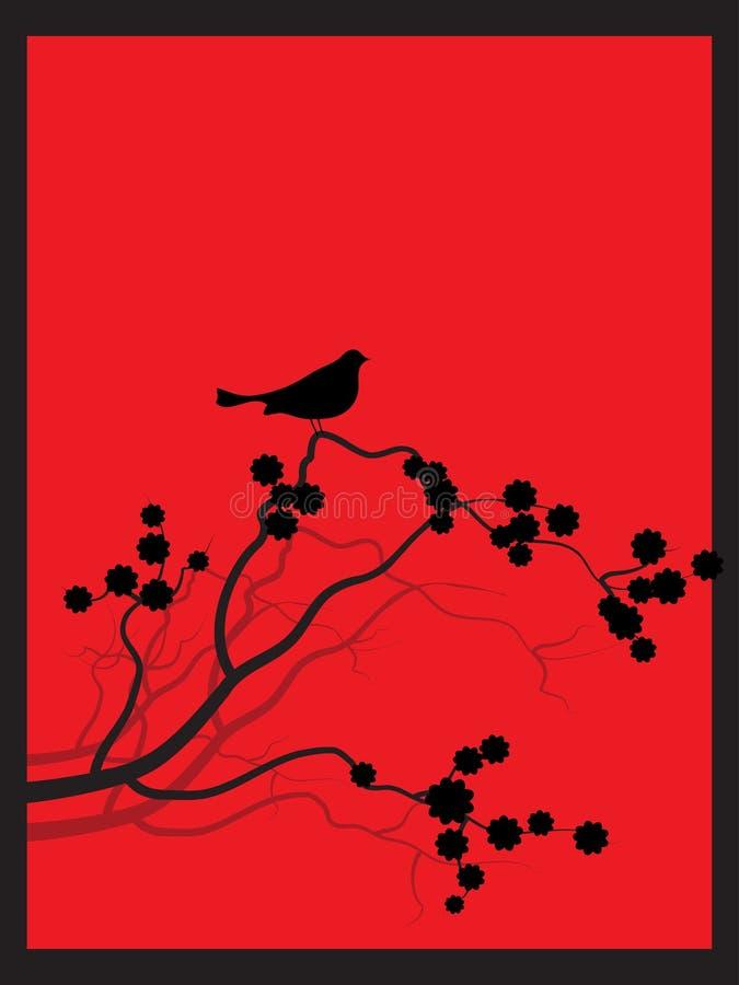 Porcile giapponese di zen del fiore della sorgente illustrazione di stock