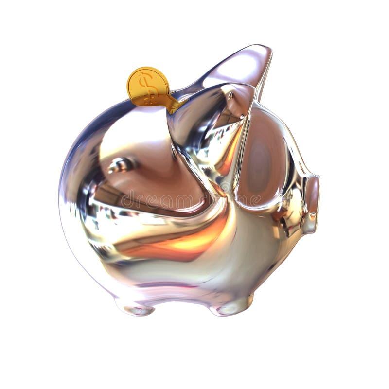 Porcin dans le symbole de Chrome pour des concepts financiers illustration stock