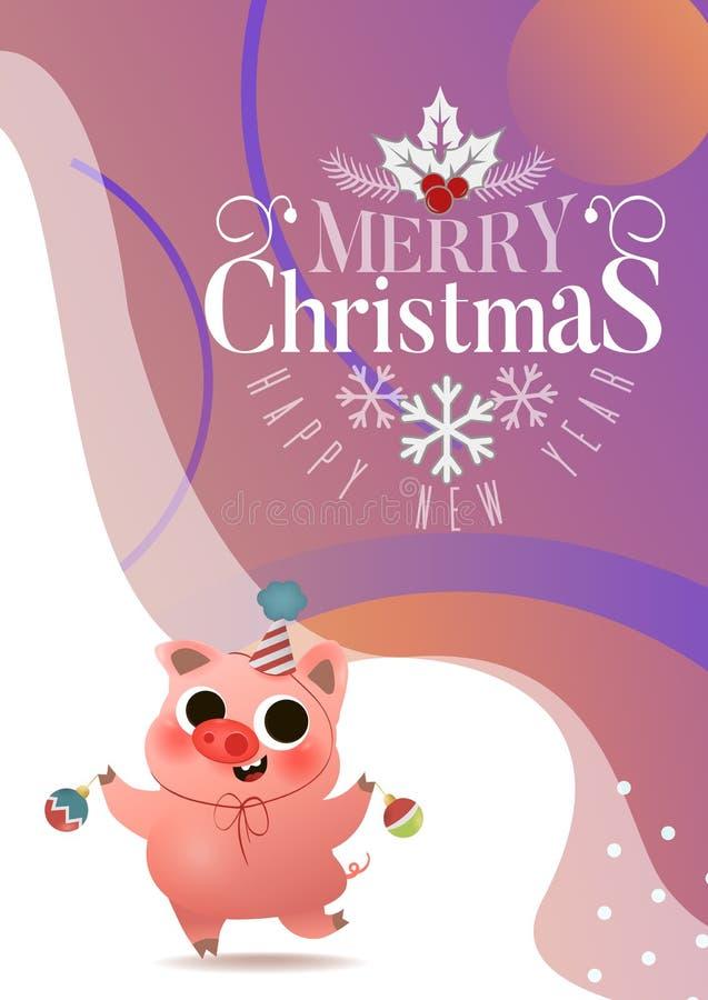 Porcin mignon de bande dessinée avec la carte de voeux de jouets d'arbre de Noël illustration de vecteur