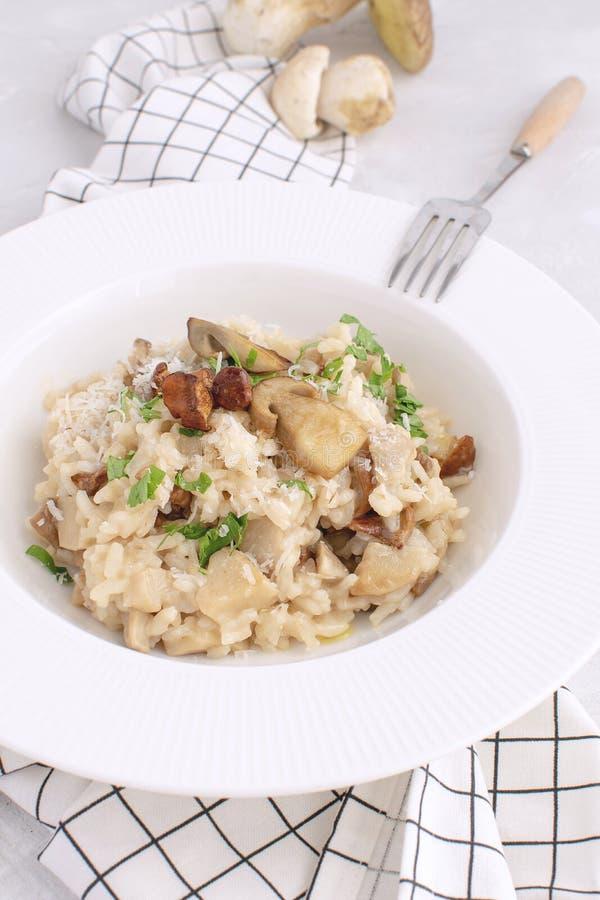 Porcino italiano tradicional do risoto do cogumelo imagens de stock