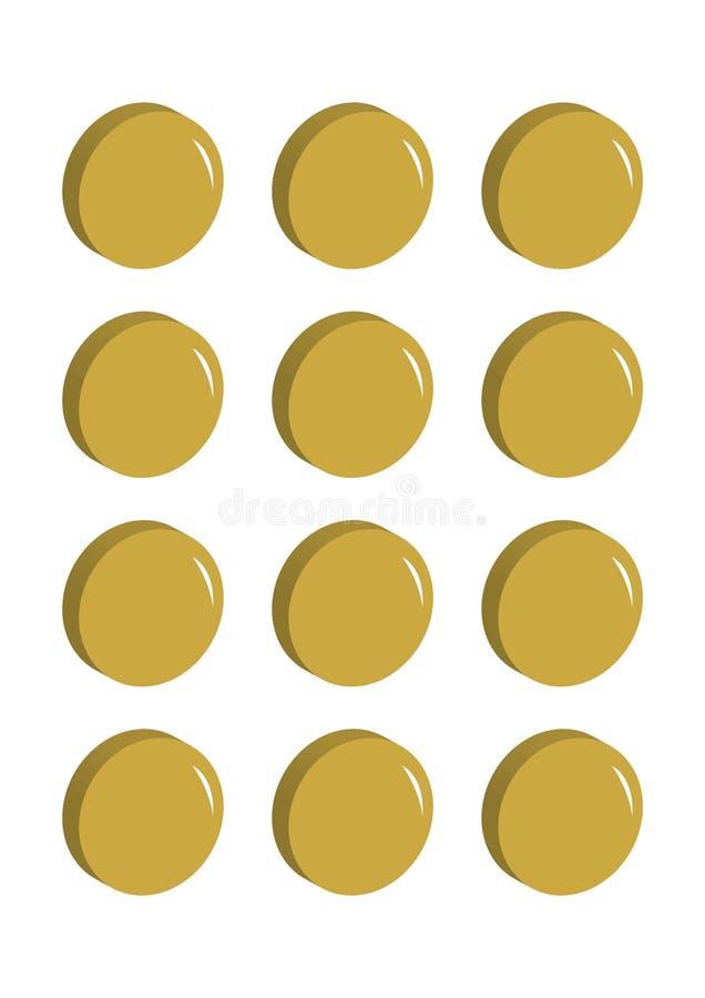 Porciones de ejemplo del vector de las monedas de oro en fila stock de ilustración