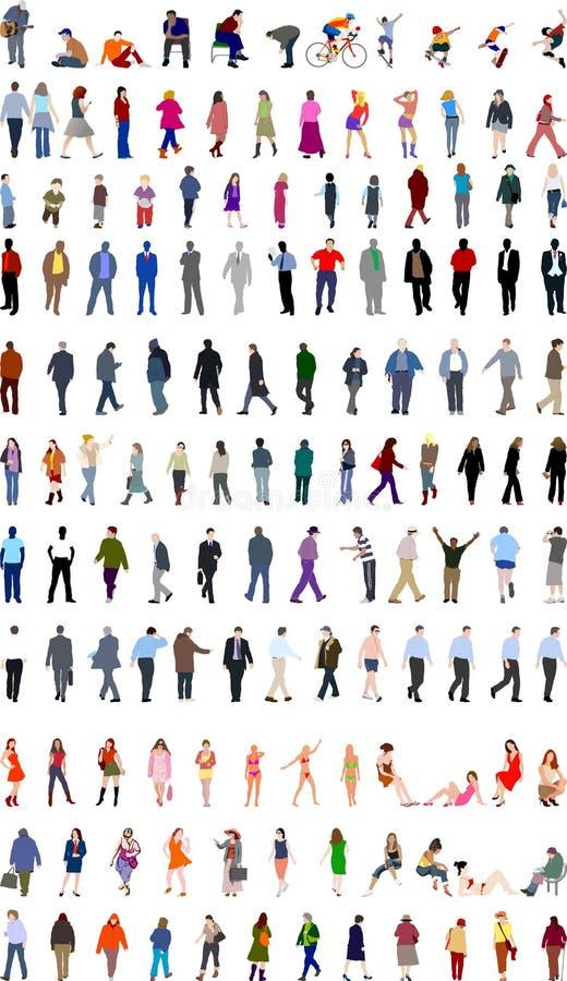 Porciones de ilustraciones de la gente ilustración del vector